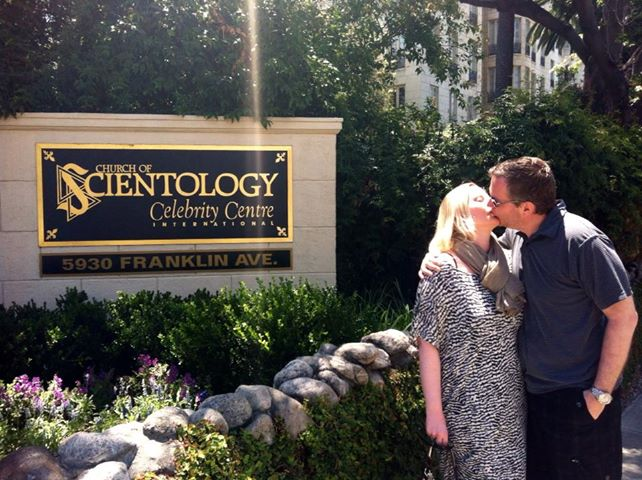 Making out in front of Celebrity Centre International (Scientology's VIP church).
